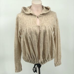 Free People Slouchy Sweater Wool Blend Beige Hood